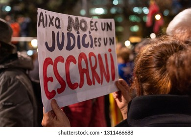 Barcelona, Spain. 12 February 2019. Demonstration in the square Catalonia of Barcelona. The day that begins the trial against Catalan pro-independence politicians.