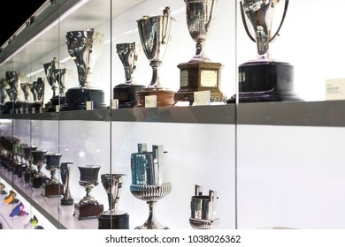 BARCELONA, SPAIN - 12 JANUARY 2018: The museum of trophies of the cups and awards of the team FC Barcelona in the of Camp Nou.