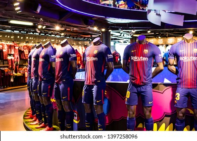 BARCELONA, SPAIN - 12 JANUARY 2018: Official Store FC Barcelona , clothing and footwear team of souvenirs and paraphernalia for fans of the team and visitors of the stadium.