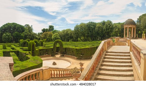 BARCELONA, SPAIN - 14 SEPTEMBER, 2016: horizontal panoramic view of Labyrinth Park of Horta on sunny day.