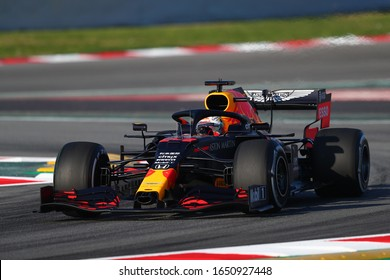 Barcelona, Spain. 19th February 2020. Formula 1  pre-season test. Max Verstappen - Aston Martin Red Bull Racing RB16 on track