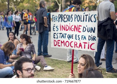 BARCELONA, SPAIN - 21 SEPTEMBER 2017: Catalan people protest against Spanish Central Government who have arrested some Catalan politicians for promoting the referendum to independence.