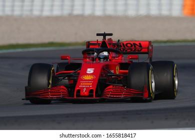 Barcelona, Spain. 21th February 2020. Formula 1 pre-season test. Sebastian Vettel of Scuderia Ferrari    during day three of F1 Winter Testing