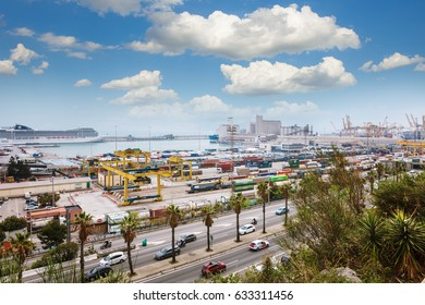 Barcelona, Spain - 22 April, 2016: Panoramic view of Barcelona from Park Guell in a summer day in Spain Catalonia on port