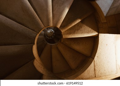 BARCELONA, SPAIN - 22.04.2016: Spiral staircase - the detail of the interior of Sagrada Familia, Catholic Church constructed by Antoni Gaudi in Barcelona