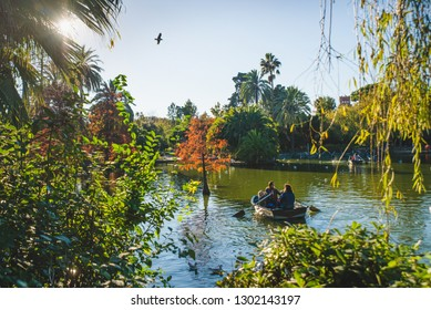 Barcelona, Spain - 24.11.2018: Beautiful day in Ciutadella Park, view of green trees and a boat with people in a small lake from the park