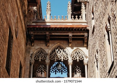 Barcelona, Spain - 26th October 2019: beautiful bridge in gothic quarter in Barcelona, with sun light and blue sky