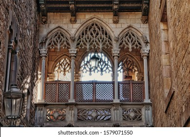 Barcelona, Spain - 26th October 2019: Details of beautiful gothic bridge between buildings, in Barcelona Gothic Quarter