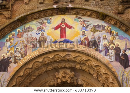 Barcelona, Spain - 27 March, 2017: Painting on the Temple of the Sacred Heart of Jesus on Tibidabo mountain, Barcelona, Spain, Europe