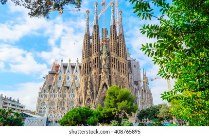 BARCELONA, SPAIN - 29.09.2015: La Sagrada Familia - the impressive cathedral designed by Gaudi, which is being build since 19 March 1882 and is not finished yet