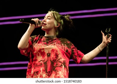 Barcelona, Spain. 2nd Sep, 2019. Billie Eilish performs in concert at Palau Sant Jordi in Barcelona, Spain. Credit: Christian Bertrand/Alamy Live News.