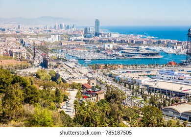 BARCELONA, SPAIN - 30 MARCH 2017: Tour on Barcelona mountain Montjuic