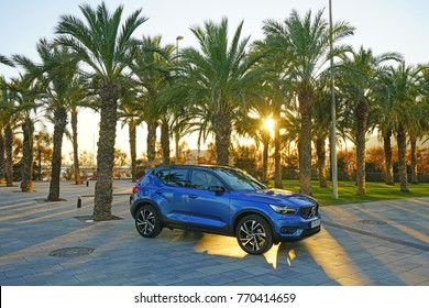 BARCELONA, SPAIN -4 DEC 2017- View of a Volvo XC40 on display in Barcelona. The XC40 is a brand new small luxury crossover car to be released by Volvo in Europe in early 2018.