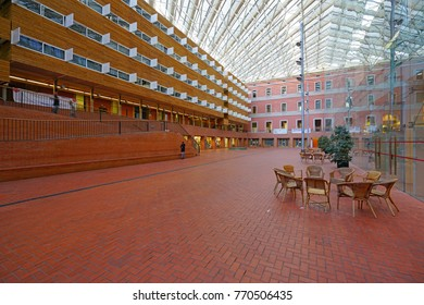 BARCELONA, SPAIN -4 DEC 2017- View of the main campus of the University Pompeu Fabra (UPF), founded in 1990, in Barcelona, capital of Catalonia.