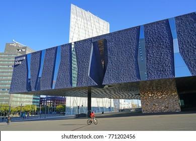 BARCELONA, SPAIN -4 DEC 2017- View of the Museu Blau natural science museum (Museu de les Ciències Naturals de Barcelona)  located in  Barcelona, the capital of Catalonia in Spain.