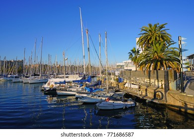 BARCELONA, SPAIN -4 DEC 2017- Day view of Port Vell, a waterfront harbor and marina complex in Barcelona, the capital of Catalonia in Spain.