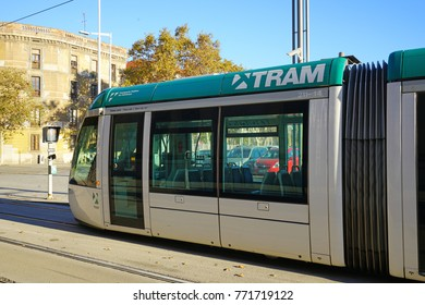 BARCELONA, SPAIN -4 DEC 2017- Trams are an important means of public transportation in Barcelona. They are operated by TMB and Trammet.