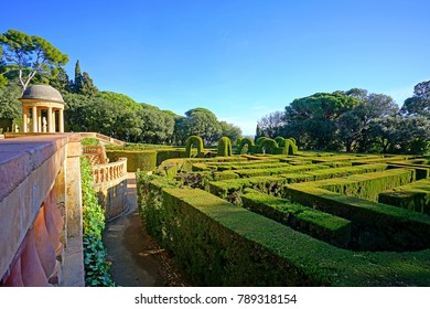 BARCELONA, SPAIN -4 JAN 2018- View of the Parc del Laberint d'Horta,  a historical garden located in the Horta-Guinardó district in Barcelona, Catalonia.