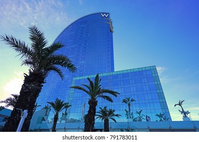 BARCELONA, SPAIN -4 JAN 2018- Designed by architect Ricardo Bofill, the modern skyscraper W Hotel, nicknamed Sail Hotel (hotel Vela) is located in the Barceloneta neighborhood.