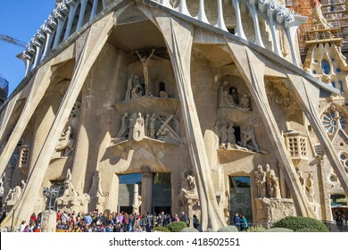 Barcelona, Spain - 5 February 2016: Front entrance view of the Sagrada Familia in Barcelona.