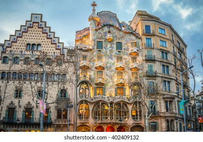 Barcelona, Spain - 6 February 2016: Exterior View of Casa Batllo during Sunset in Barcelona.