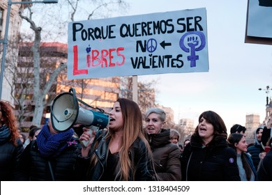 Barcelona, Spain - 8 march 2018: women march in the city center during woman's day for better human rights for women and feminism