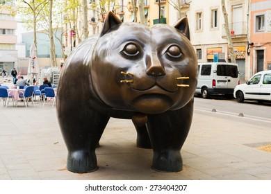 "BARCELONA, SPAIN - 9 APRIL 2013: The sculpture ""El Gato de Botero"" in the El Raval district of Barcelona city"