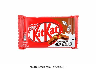 BARCELONA, SPAIN - APR 15, 2017: A KitKat chocolate bar isolated on white background.