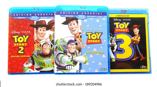 BARCELONA, SPAIN - APR 18, 2014: The Toy Story animated films collection by Disney Pixar in Blu-ray disc, isolated on white background.