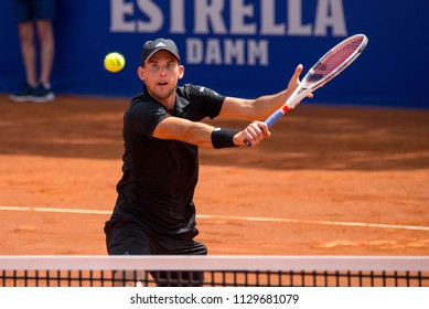 BARCELONA, SPAIN - APR 25: Dominic Thiem plays at the ATP Barcelona Open Banc Sabadell Conde de Godo tournament on April 25, 2018 in Barcelona, Spain.