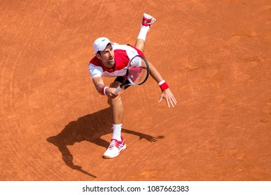 BARCELONA, SPAIN - APR 25: Novak Djokovic plays at the ATP Barcelona Open Banc Sabadell Conde de Godo tournament on April 25, 2018 in Barcelona, Spain.