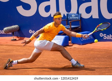 BARCELONA, SPAIN - APR 25: Rafa Nadal plays at the ATP Barcelona Open Banc Sabadell Conde de Godo tournament on April 25, 2018 in Barcelona, Spain.