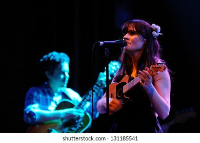 BARCELONA, SPAIN - APR 25: Zooey Deschanel, Hollywood Actress and singer, performs with her band She & Him at Apolo on April 25, 2010 in Barcelona, Spain. She perfoms with M. Ward.