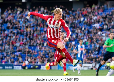 BARCELONA, SPAIN - APR 9: Fernando Torres plays at the La Liga match between RCD Espanyol and Atletico de Madrid at the Powerade Stadium on April 9, 2016 in Barcelona, Spain.