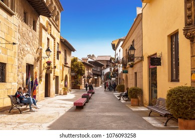 BARCELONA, SPAIN - APRIL 06, 2018:The Spanish village in Barcelona is an open-air Museum. Catalonia, Spain