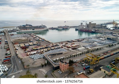 BARCELONA, SPAIN - APRIL 08, 2019: View Point Of Barcelona in Spain. On Montjuïc hill, Mayor's Viewpoint is a terraced belvedere overlooking the city of Barcelona. Port of Barcelona in Background.