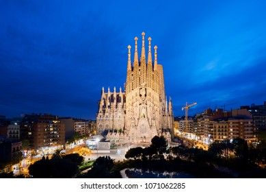 Barcelona, Spain - April 10,2018 : Night view of the Sagrada Familia, a large Roman Catholic church in Barcelona, Spain, designed by Catalan architect Antoni Gaudi.