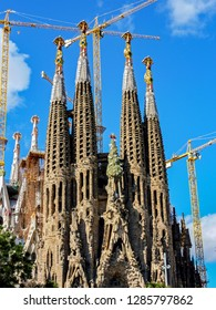 Barcelona, Spain - April 11, 2009: Construction of Sagrada Familia in Barcelona - Spain. The Sagrada Fam is a large unfinished Roman Catholic church in Barcelona, designed by Antoni Gaudi.