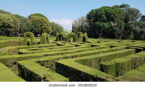 BARCELONA, SPAIN - APRIL 11, 2017: The maze in Parc del Laberint d'Horta, or Labyrinth Park of Horta, a historical garden in the Horta-Guinardo district and the oldest of its kind in the city.