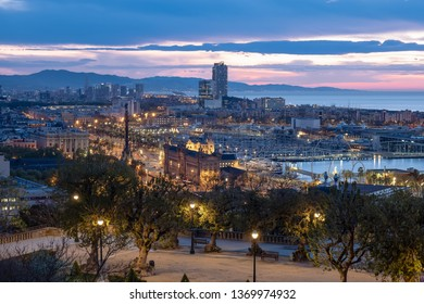 BARCELONA, SPAIN – APRIL 11, 2019:View on Port Vell from Montjuic at dawn - Barcelona, Spain
