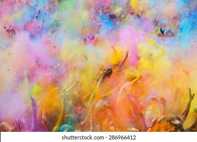 BARCELONA, SPAIN - APRIL 12, 2015:   Festival de los colores Holi. Holi is traditional holiday of India