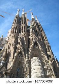 Barcelona / Spain - April 13, 2012: A view of the facade of the Sagrada Familia, a church designed by Art Nouveau architect Antonio Gaudi still in construction