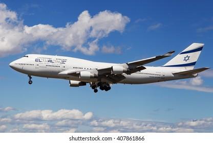 Barcelona, Spain - April 17, 2016: An El AL Israel Airlines Boeing 747 landing at El Prat Airport in Barcelona, Spain.