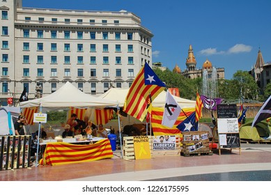 BARCELONA, SPAIN - APRIL 17, 2018: LLibertat Presos Politics (Free Political Prisoners) stands in Placa Catalunya. The campaign backs Catalan politicians jailed after the declaration of independence.