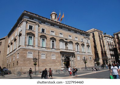 BARCELONA, SPAIN - APRIL 17, 2018: The Palau de la Generalitat de Catalunya at Placa Sant Jaume in the Gothic Quarter. The building is the seat of the President of the Government of Catalonia.