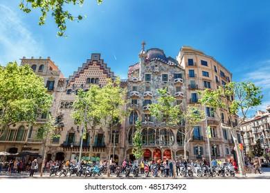 Barcelona, Spain - APRIL 18, 2016: Illa de la Discordia. Facade Casa Batllo, Lleo Morera, Rocamora, Amatller in district of incompliance. Passeig de Gracia Located in the Eixample district.