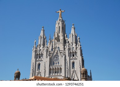 BARCELONA, SPAIN - APRIL 18, 2018: The Temple of the Sacred Heart of Jesus on the summit of Mount Tibidabo. Started in 1901, the building was completed in 1961.