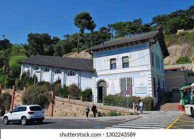BARCELONA, SPAIN - APRIL 18, 2018: The bottom station of the Tibidabo Funicular railway at Placa Del Doctor Andreu on Mount Tibidabo. The 1130mtr long railway was opened in 1901.