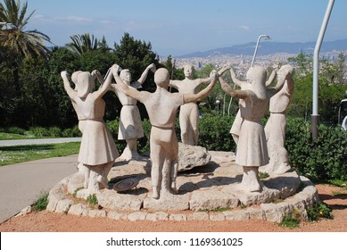 BARCELONA, SPAIN - APRIL 19, 2018: The Monument de la Sardana on Montjuic hill. Created in 1966 by sculptor Josep Canas it depicts the traditional Sardana ring dance of Catalonia.