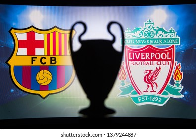 BARCELONA, SPAIN, APRIL. 19. 2019: FC Barcelona (SPA) vs Liverpool (ENG) ,UEFA Champions League, First Semifinal, UCL Trophy silhouette.